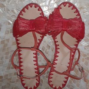 PLV Pour la Victoire Raffia Bow Block Heel Sandals